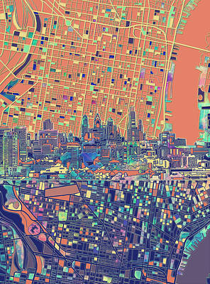 Painting - Philadelphia Skyline Map 2 by Bekim Art
