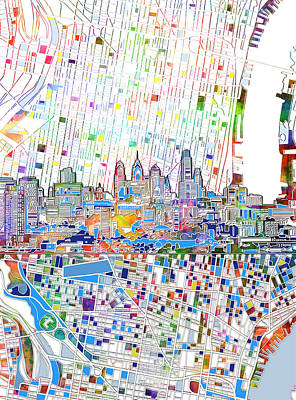 Painting - Philadelphia Skyline Map 3 by Bekim Art