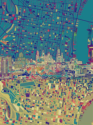 Painting - Philadelphia Skyline Map by Bekim Art