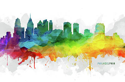 Philadelphia Skyline Digital Art - Philadelphia Skyline Mmr-uspaph05 by Aged Pixel