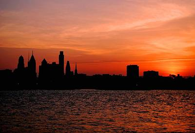 Photograph - Philadelphia Skyline Orange Sunset Sky by Matt Harang