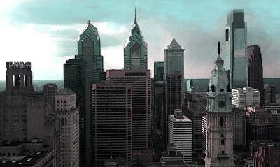 Philadelphia Skyline Painting - Philadelphia Skyline Painting 2 by Enki Art