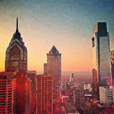 Queen City Skyline Painting - Philadelphia Skyline Painting  by Enki Art