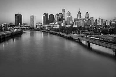 Philadelphia Skyline Photograph - Philadelphia Skyline Pastels Bw by Susan Candelario