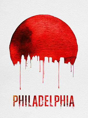 Philadelphia Wall Art - Painting - Philadelphia Skyline Redskyline Red by Naxart Studio