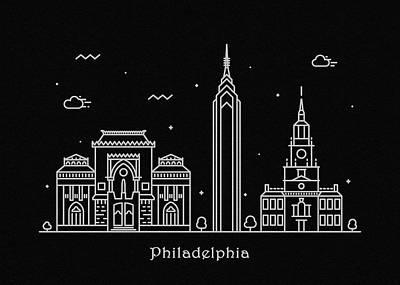 Drawing - Philadelphia Skyline Travel Poster by Inspirowl Design
