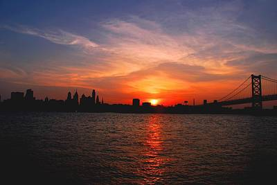 Photograph - Philadelphia Skyline With Bridge Sunset  by Matt Harang