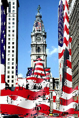 Mixed Media - Philadelphia Stars And Stripes Collage by Art America Gallery Peter Potter