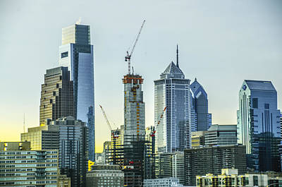 Skyscapers Photograph - Philadelphia - Still Growing by Bill Cannon