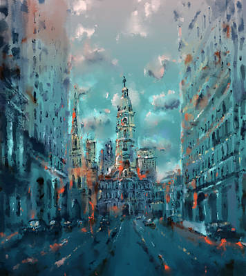 City Hall Painting - Philadelphia Street by Bekim Art
