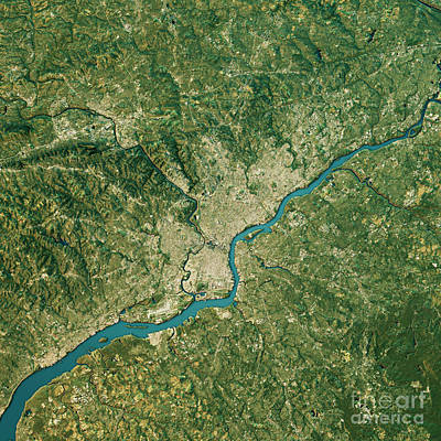 Cartography Digital Art - Philadelphia Topographic Map Natural Color Top View by Frank Ramspott