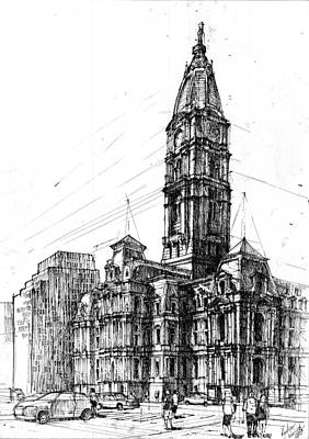 Phillies Drawing - Philadelphia Town Hall by Krystian  Wozniak