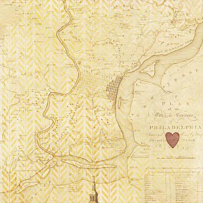 Philadelphia Vintage Map Print by Brandi Fitzgerald