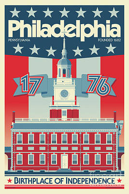 Digital Art - Philadelphia Vintage Travel Poster by Jim Zahniser