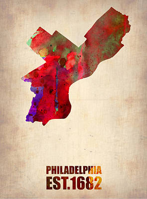 Cities Digital Art - Philadelphia Watercolor Map by Naxart Studio