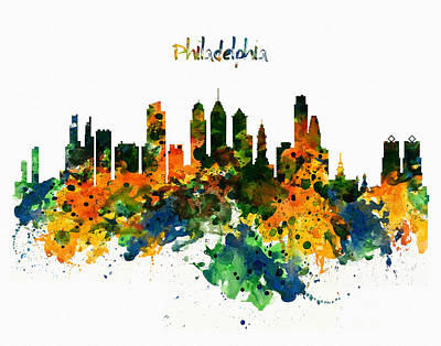 Skyline Mixed Media - Philadelphia Watercolor Skyline by Marian Voicu