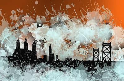 Relief Digital Art - Philadelphia.2 Over Orange by Alberto RuiZ