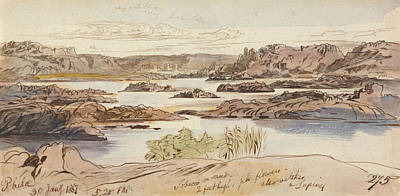 Drawing - Philae, Five-twenty Pm, 30 January 1867 by Edward Lear