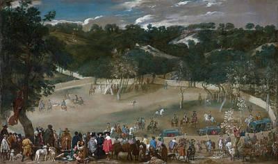 Horseback Painting - Philip Iv Hunting Wild Boar, La Tela Real by Diego Velazquez