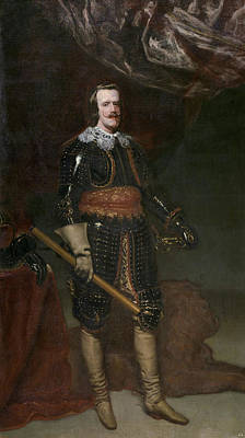 King Painting - Philip Iv In Armour, With A Lion At His Feet by Diego Velazquez
