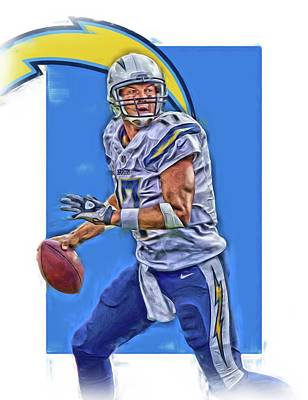 San Diego Mixed Media - Philip Rivers San Diego Chargers Oil Art by Joe Hamilton
