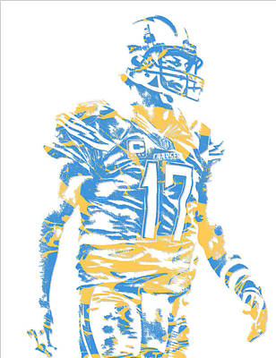 Mixed Media - Philip Rivers San Diego Los Angeles Chargers Pixel Art 4 by Joe Hamilton