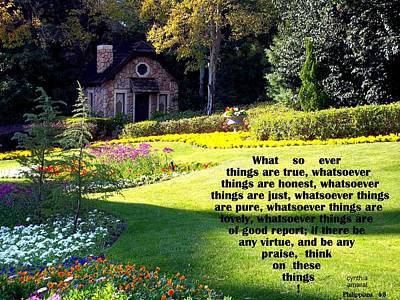 Photograph - Philippians 4-8 The  Cottage House by Cynthia Amaral