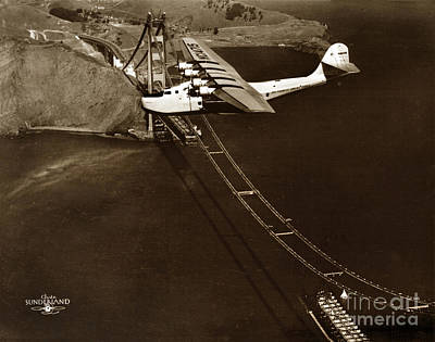 Philippine Clipper A Pan Am Clipper Over The Golden Gate Bridge  1935 Art Print by California Views Mr Pat Hathaway Archives