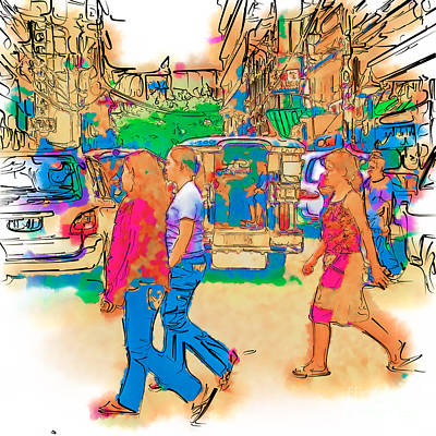Philippine Girls Crossing Street Art Print