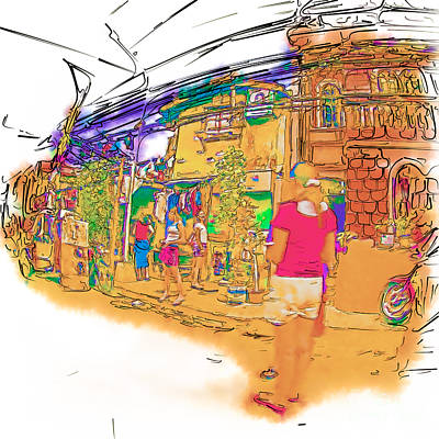 Drawing - Philippine Girls Playing On Street by Rolf Bertram