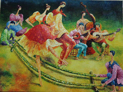 Bamboo Chair Painting - Philippine Tinikling by Glory Abueva