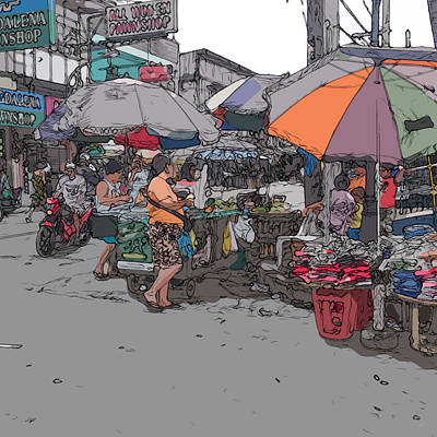 Painting - Philippines 708 Market by Rolf Bertram