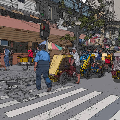 Painting - Philippines 906 Crosswalk by Rolf Bertram