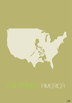 Philippines Digital Art - Philippines America Poster by Naxart Studio