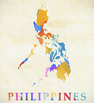 Painting - Philippines Watercolor Map by Dan Sproul