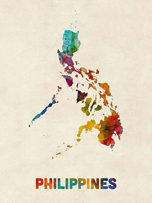 Philippines Digital Art - Philippines Watercolor Map by Michael Tompsett