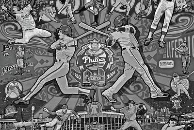 Phillies Legends In Black And White Art Print by Frozen in Time Fine Art Photography