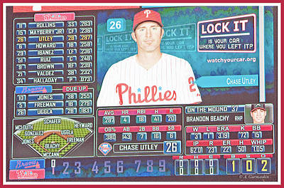 Photograph - Phillies Scoreboard, Chase Utley, Second Baseman by A Gurmankin