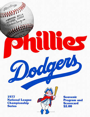Phillies Versus Dodgers 1977 Scorecard Art Print by John Farr