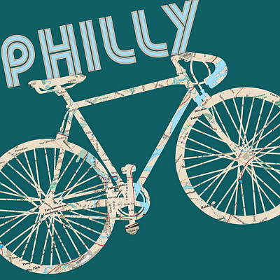 Phillies Art Mixed Media - Philly Bicycle Map by Brandi Fitzgerald