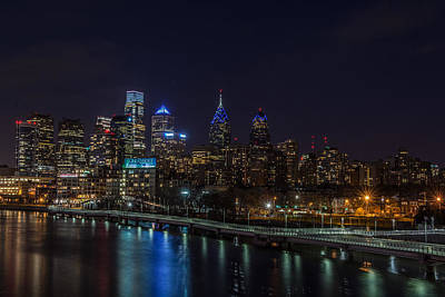 Surrealism Royalty-Free and Rights-Managed Images - Philly Night Skyline by Surreal Jersey Shore