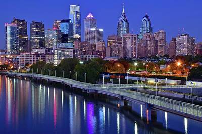 Philly Nightscape Art Print by Frozen in Time Fine Art Photography