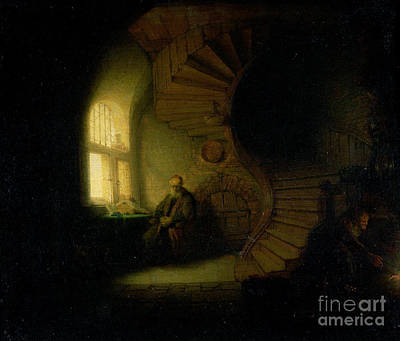 Spiral Staircase Painting - Philosopher In Meditation by Rembrandt
