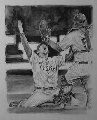 Baseball. Philadelphia Phillies Drawing - Phinally by Paul Autodore