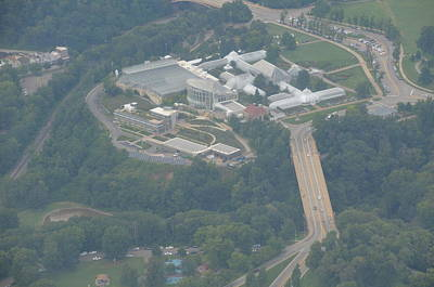 Phipps Conservatory From 3000 Feet On A Misty Day Art Print by Joe Lee