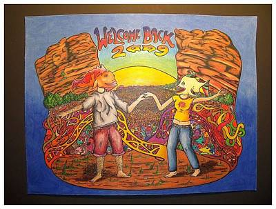 Phish Drawing - Phish Welcome Back 2009 by Steve Weber