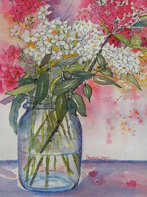 Flower In Pen And Ink Painting - Phlox In Mason Jar by Donna Cary