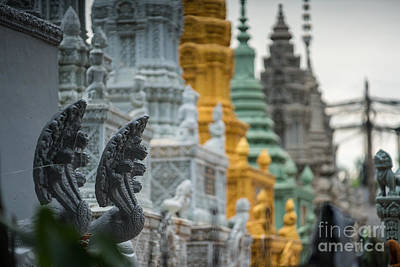 Photograph - Phnom Penh Temple Cemetary Details by Mike Reid