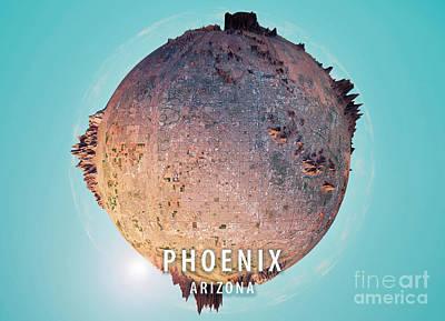 Phoenix 3d Little Planet 360-degree Sphere Panorama Art Print