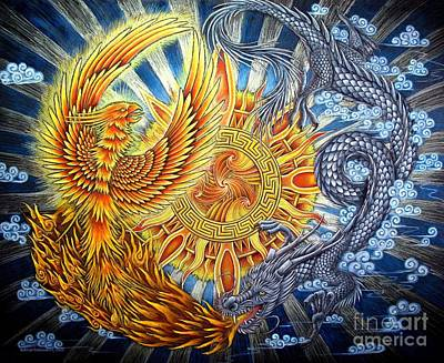Phoenix And Dragon Art Print